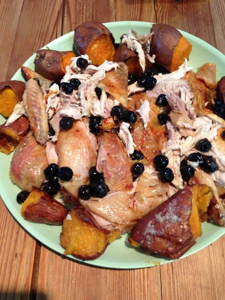 Chicken, sweet potato and olives
