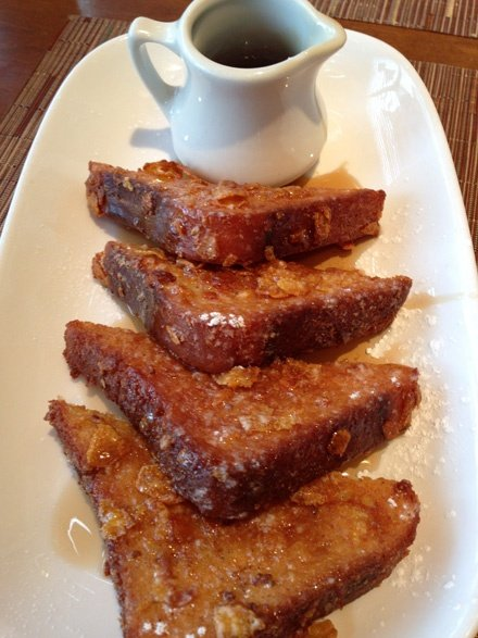Cornflake-crusted french toast with maple syrup