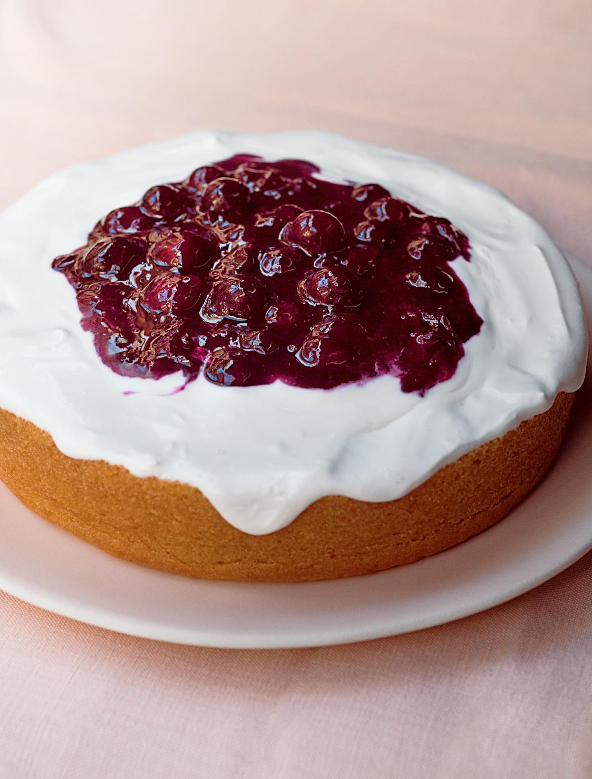 Lemon Tender Cake With Blueberry Compote Vegan