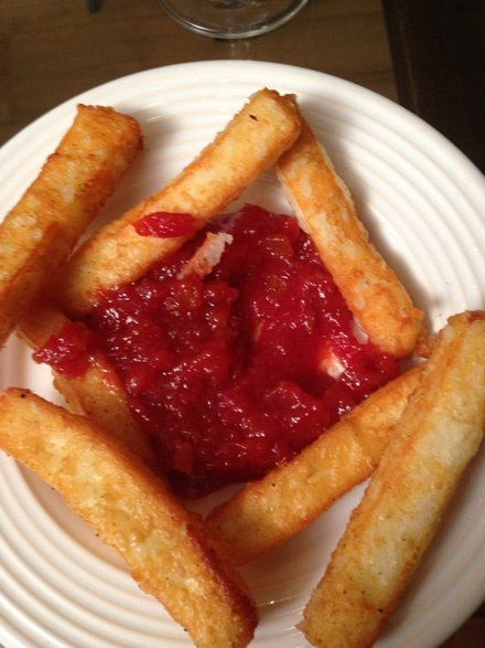Fried cheese and guava jam