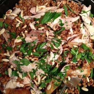 Chicken On Spelt With Parsley And Toasted Pinenuts