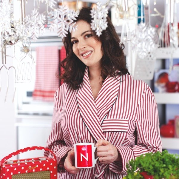 Image of Nigella in stripey Christmas dressing gown