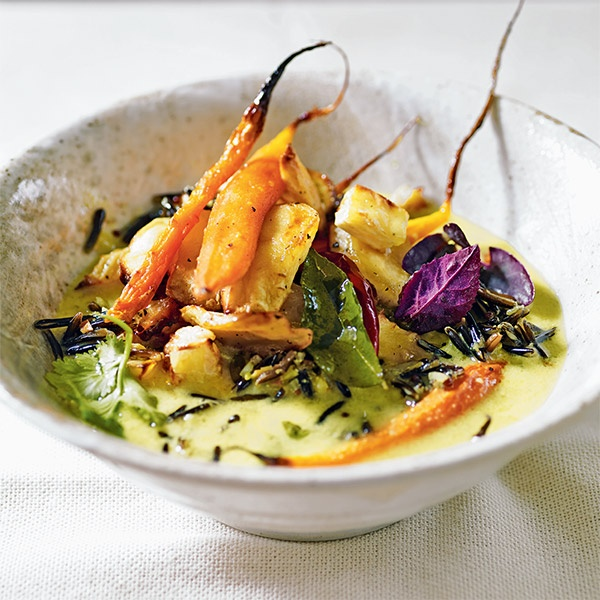 Image of Spiced Turmeric Broth with Roast Vegetables