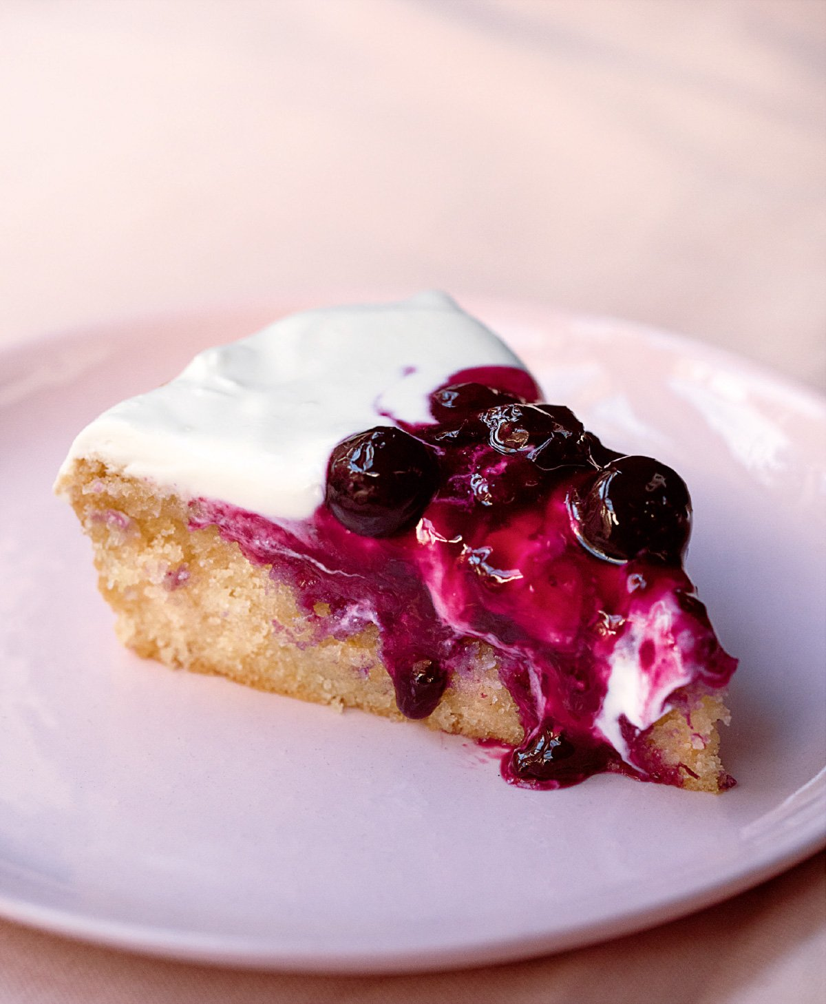 Lemon Tender Cake With Blueberry Compote