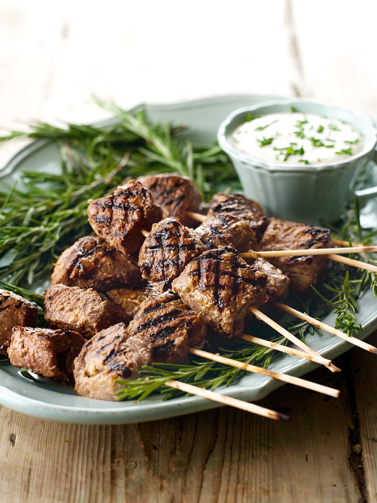 Juicy Beef Skewers With Horseradish Dip | Nigella's ...