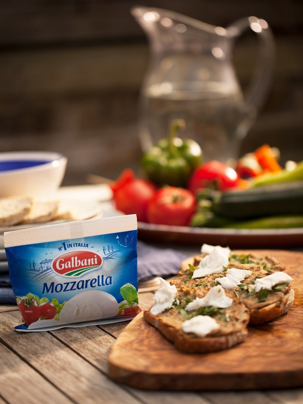 Lentil Hummus With Melted Galbani Mozzarella Bruschetta