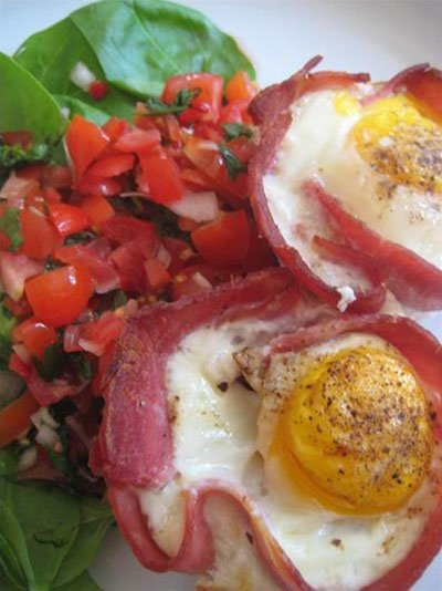 Baked Ham & Eggs With Hot Tomato Salsa