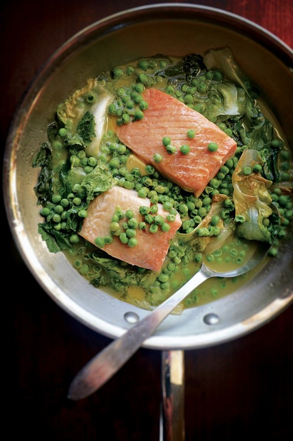 Image of Christopher Hirsheimer and Melissa Hamilton's Braised Salmon with Escarole and Peas