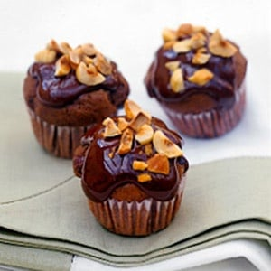 Chocolate Mini Muffins With Toasted Hazelnuts