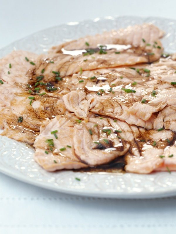 Escalopes of Salmon With Balsamic Vinegar
