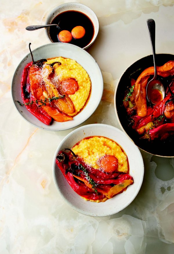 Image of Charred peppers and fresh corn polenta with soy-cured yolk