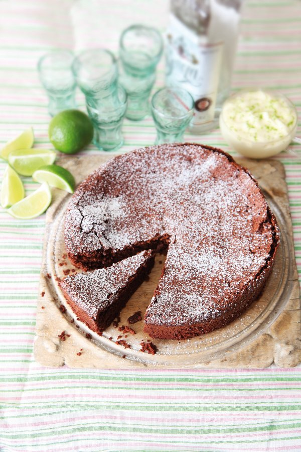 Flourless Chocolate Lime Cake With Margarita Cream
