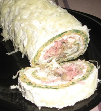 Ham, Cheese and Spinach Roll