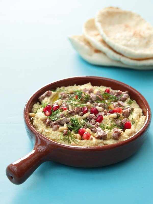 Hummus With Seared Lamb and Toasted Pinenuts