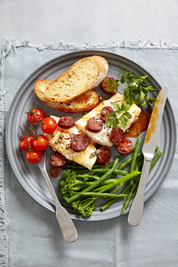 SPANISH CHORIZO ROAST COD WITH  CAPERS AND TOMATOES