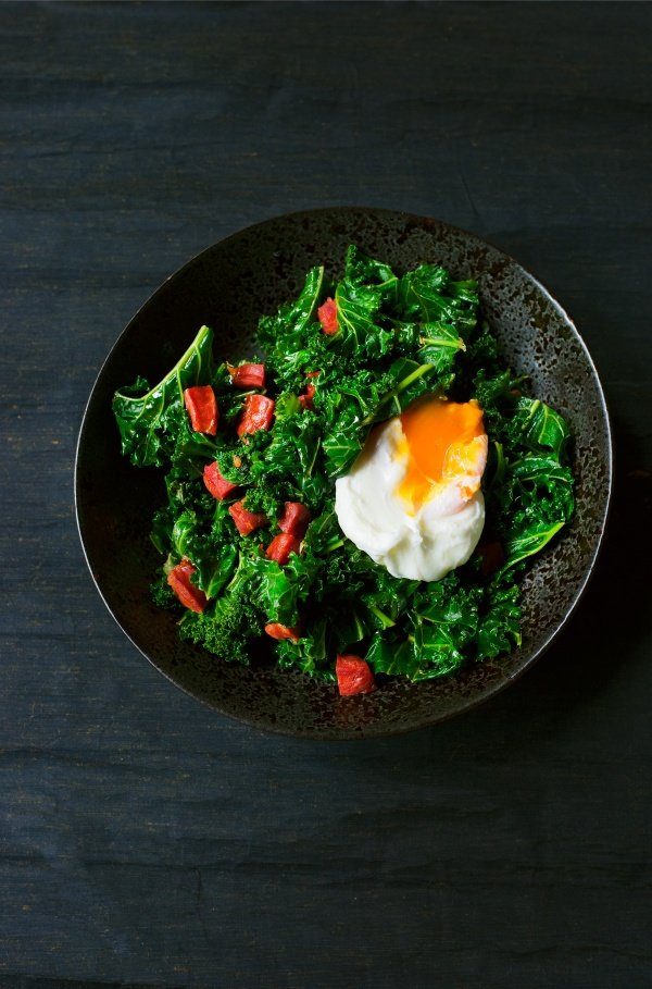 Image of Nigella's Kale with Chorizo and Poached Egg