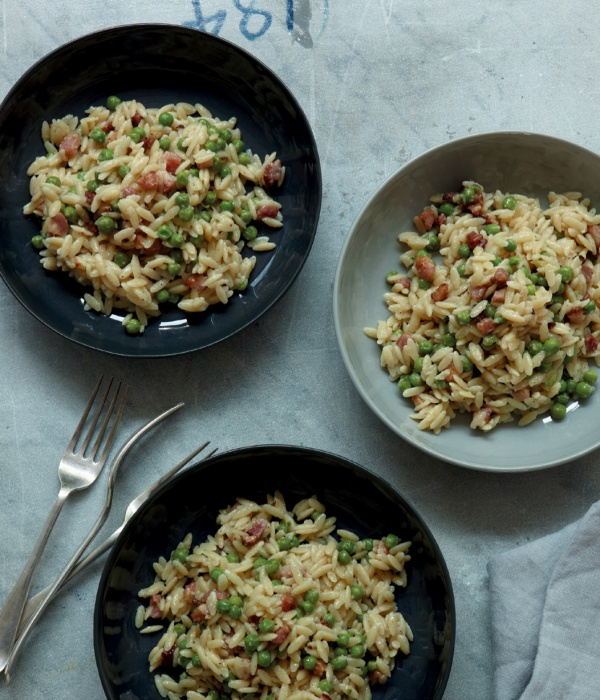 Image of Nigella's Pasta Risotto with Peas and Pancetta