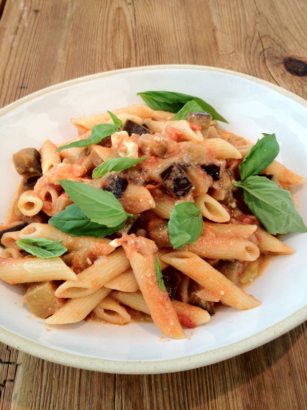 Penne With Aubergine, Tomato, Chilli and Feta