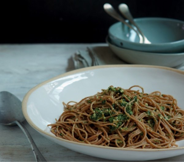 Image of Nigella's Spelt Spaghetti with Olives and Anchovies