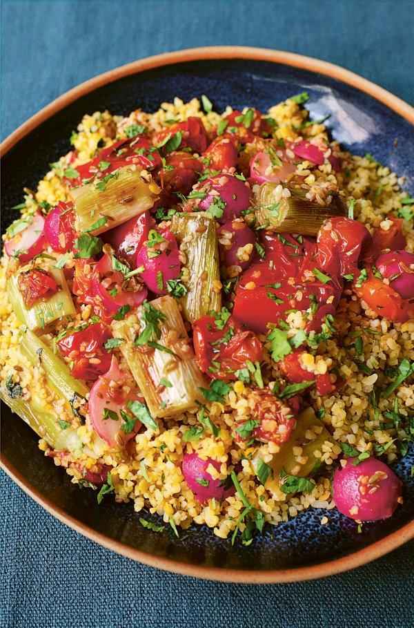 Image of Nigella's Spiced Bulgur Wheat with Roast Vegetables