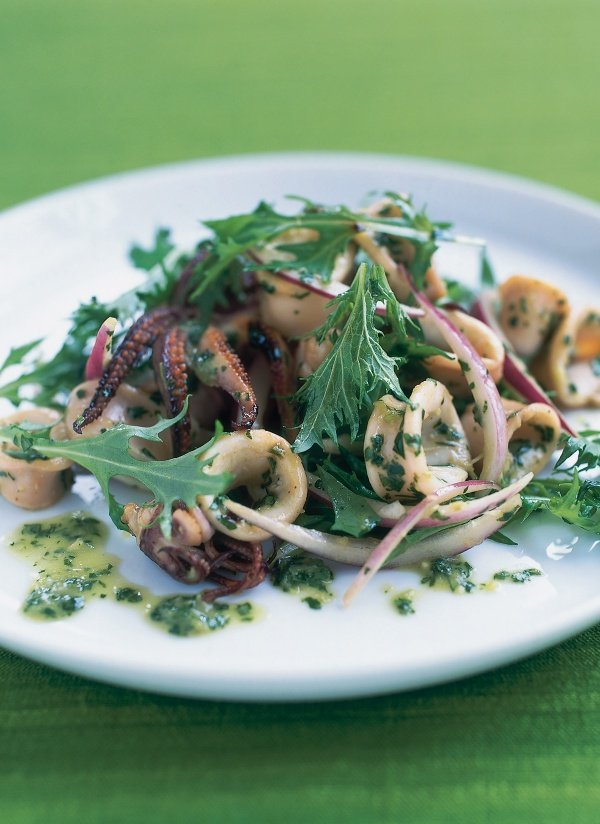 Squid Salad With Lime, Coriander, Mint and Mizuna