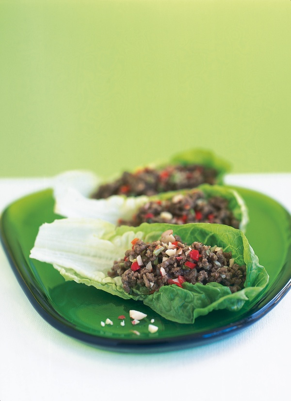 Thai Crumbled Beef in Lettuce Wraps